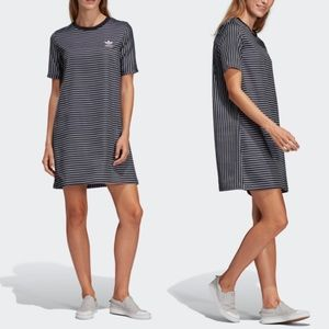 Adidas Striped Glossy Satin Tee Shirt Dress